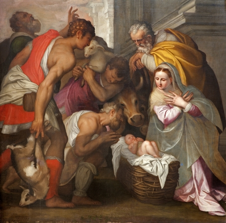 VERONA - JANUARY 27  Nativity scene by Bernardinus Indisur from year 1567 in San Bernardino church on January 2,  2013 in Verona, Italy