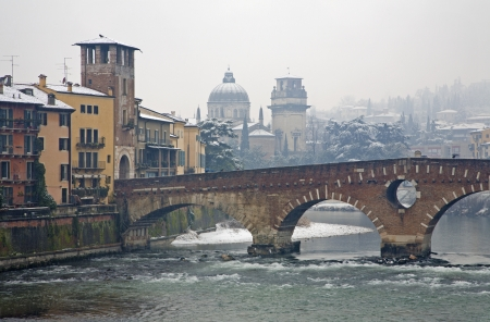 Verona - Ponte Pietra and Chiesa di San Giorgio in Braida church in winter Stock Photo - 17881418