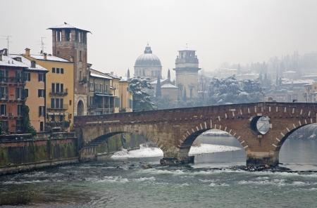 Verona - Ponte Pietra and Chiesa di San Giorgio in Braida church in winter Stock Photo - 17881418