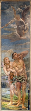 expulsion: VERONA - JANUARY 27: Fresco of expulsion of Adam and Eva from Paradise  by Agostino Pegrassi from year 1932 in San Bernardino church and Canossa chapel on January 27, 2013 in Verona, Italy.