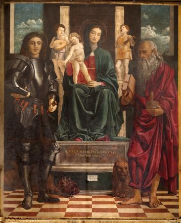 VERONA - JANUARY 27: Paint of Madonna, st. George and Jerome by Francesco Bonsignori from year 1488  in San Bernardino church and Banda chapel on January 27, 2013 in Verona, Italy.