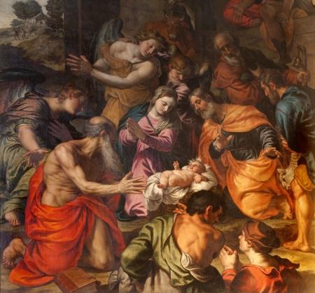 VERONA - JANUARY 28  Nativity by Alessandro Turchi from year 1608 in church San Fermo Maggioreon January 28, 2013 in Verona, Italy  Editoriali