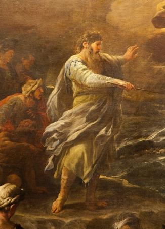 BERGAMO - JANUARY 26: Moses from paint Passaggio del Mar Rosso by Luca Giordano. Crossing the Red sea paint form church Santa Maria Maggiore on January 26, 2013, in Bergamo, Italy. Editorial