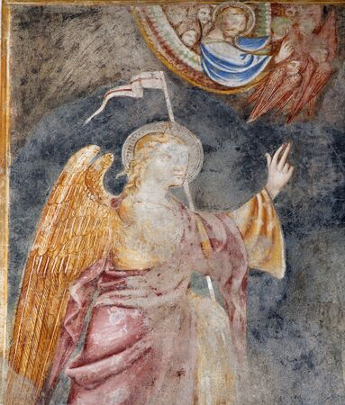 BERGAMO - JANUARY 26: Detail of fresco of angel from Annunciation scene in church Michele al pozzo bianco. Fresco of main nave is from year 1440 on January 26, 2013 in Bergamo, Italy.