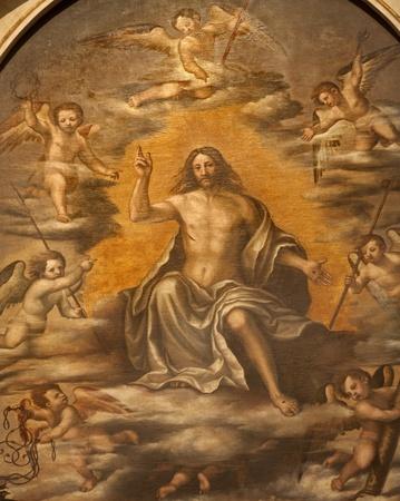 atar: VERONA - JANUARY 27: Resurrected Christ detail by  Nicolaus Julfinus from st. Erasmus atar in Santa Anastasia church on January 27, 2013 in Verona, Italy.