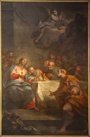 BERGAMO - JANUARY 26: Paint of Last supper of Christ in Duomo from 17. cent. on January 26, 2013 in Verona, Italy. Editoriali