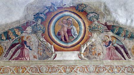 bernardino: VERONA - JANUARY 27: Fresco from arch of Medici chapel in San Bernardino church on January 27, 2013 in Verona, Italy.