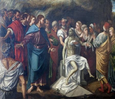 VERONA - JANUARY 27: Resurrection of Lazarus by A. Badile (1516 - 1560) from Avanzi Chapel in San Bernardino church on January 27, 2013 in Verona, Italy.