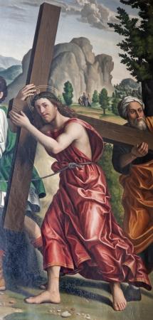 bernardino: VERONA - JANUARY 27: Jesus  P. Morando (1486 - 1522) from Avanzi Chapel in San Bernardino church on January 27, 2013 in Verona, Italy.