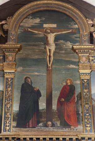 bernardino: VERONA - JANUARY 27  Crucifxion by Francesco Morone  1498  from Avanzi Chapel in San Bernardino church on January 27, 2013 in Verona, Italy   Editorial
