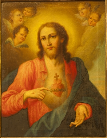VERONA - JANUARY 27: Heart of Jesus Christ. Paint from church San Lorenzo on January 27, 2013 in Verona, Italy