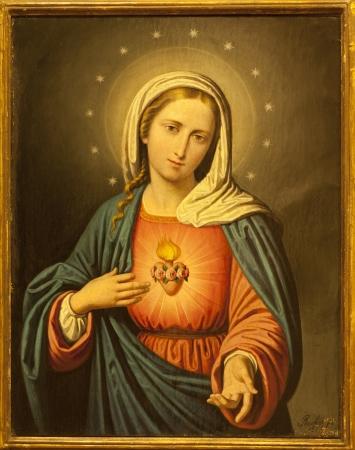 VERONA - JANUARY 27: Heart of Virgin Mary. Paint from church San Lorenzo on January 27, 2013 in Verona, Italy