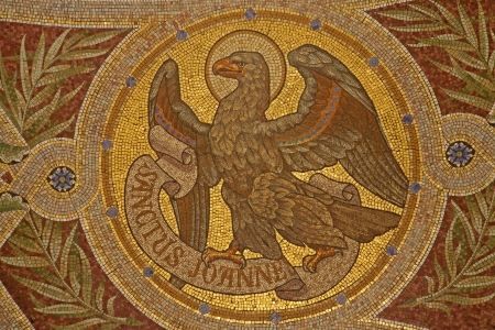 MADRID - MARCH 9  Mosaic of eagle as symbol of Saint John the Evangelist in Iglesia de San Manuel y San Benito by architect Fernando Arbos from 19  cent  in March 9, 2013 in Madrid  Editorial
