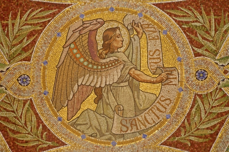 MADRID - MARCH 9  Mosaic of angel as symbol of Saint Matthew the Evangelist in Iglesia de San Manuel y San Benito by architect Fernando Arbos from 19  cent  in March 9, 2013 in Madrid  Editoriali