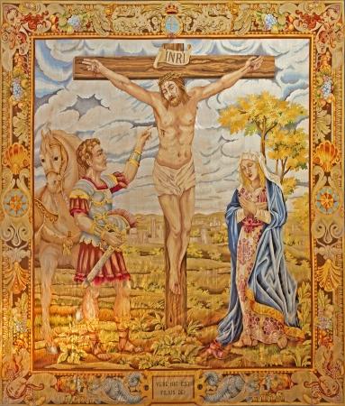 ocampo: MADRID - MARCH 10  Tapestry of Crucifixion by Francisco de Ocampo from 17  cent  in Iglesia catedral de las fuerzas armada de Espana on March 10, 2013 in Madrid