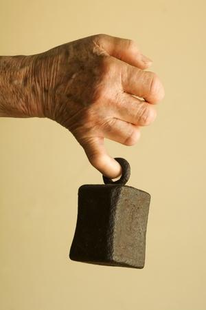 senescence: hand of old woman and onus Stock Photo