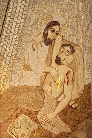 MADRID - MARCH 10  Modern mosiac of Good Samaritan by pater Rupnik from Capilla del Santisimo in Almudena cathedral on March 10, 2013 in Spain  Editorial