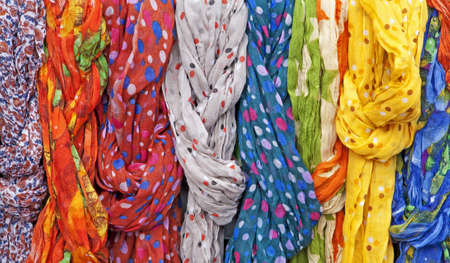 headcloth: muffers from market in Madrid Stock Photo