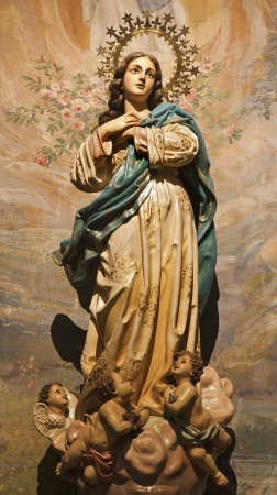 MADRID - MARCH 10  Immaculate conception statue from church hl  Theresia  Madrid - Iglesia de Santa Teresa y San Jose  Carmelitas descalzos  on March 10, 2013 in Madrid  Stock Photo - 18899330