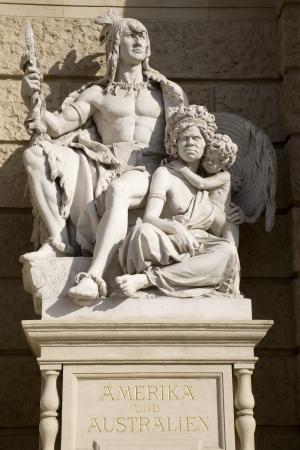 traditon: Vienna - statue of Australia from facade of Naturihistorisches museum Editorial