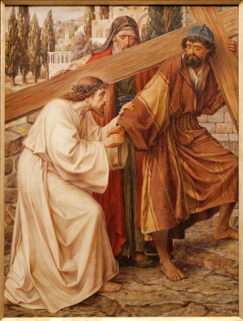 GENT - JUNE 23  Simon of Cyrene Helps Jesus Carry His Cross  Paint in st  Peter s church by Josef Piens Cooreman on June 23, 2012 in Gent, Belgium  Editorial