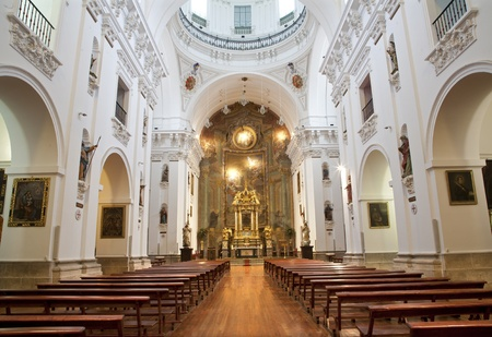 nave: MADRID - MARCH 10  Nave of church San Isidoro on March 10, 2013 in Madrid