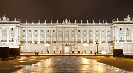 MADRID - MARCH 10  North facade of Palacio Real or Royal palace constructed between years 1738 and 1755 at night in March 10, 2013 in Madrid