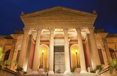 massimo: Palermo - Teatro Massimo by architect Giovani Battista Filippo Basile in morning dusk  Building was completed in year 1897