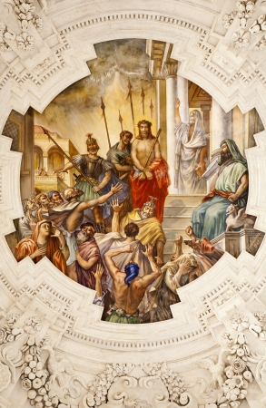 PALERMO - APRIL 8  Fresco of Jesus for Pilatus scene on ceiling of side nave in church La chiesa del Gesu or Casa Professa  Baroque church was completed in  1636 on April 8, 2013 in Palermo, Italy