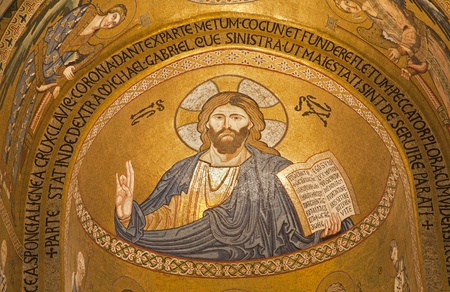 cappella: PALERMO - APRIL 8  Mosaic of Jesus Christ from Cappella Palatina - Palatine Chapel in Norman palace in style of Byzantine architecture from years 1132 - 1170 on April 8, 2013 in Palermo, Italy