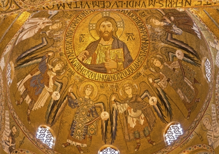 cappella: PALERMO - APRIL 8  Mosaic from cupola of Cappella Palatina - Palatine Chapel in Norman palace in style of Byzantine architecture from years 1132 - 1170 on April 8, 2013 in Palermo, Italy
