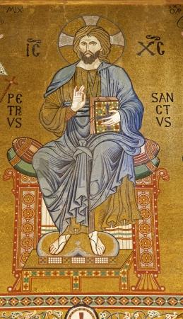 cappella: PALERMO - 08 de abril Mosaico de Jesucristo de Cappella Palatina - Capilla Palatina en Norman palacio en el estilo de la arquitectura bizantina del a�o 1132 a 1170 el 8 de abril de 2013 en Palermo, Italia