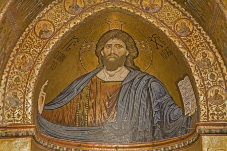 palermo   italy: PALERMO - APRIL 9  Mosaics of main apse of Monreale cathedral  Church is wonderful example of Norman architecture  Cathedral was completed about 1200 on April 9, 2013 in Palermo, Italy
