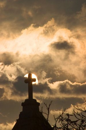 messiah: cross in sunset