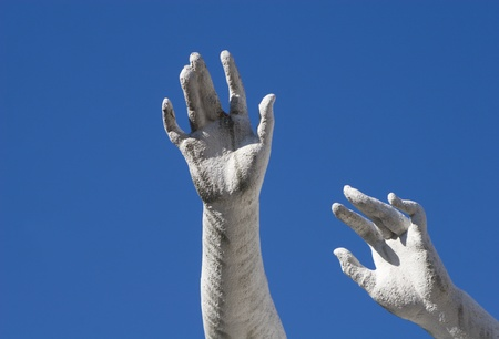 abhorrence: Vienna - hands of statue in Belvedere and sky