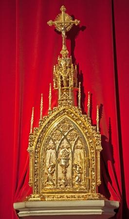 tabernacle: TOLEDO - MARCH 8  Modern tabernacle in Monasterio San Juan de los Reyes or Monastery of Saint John of the Kings on March 8, 2013 in Toledo, Spain