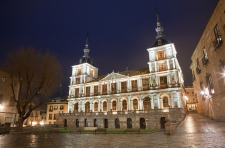 toledo town: Toledo - town hall in evening dusk