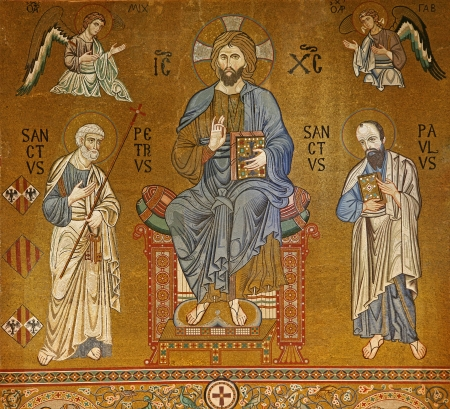 cappella: PALERMO - APRIL 8: Mosaic of Jesus Christ from Cappella Palatina - Palatine Chapel in Norman palace in style of Byzantine architecture from years 1132 - 1170 on April 8, 2013 in Palermo, Italy.
