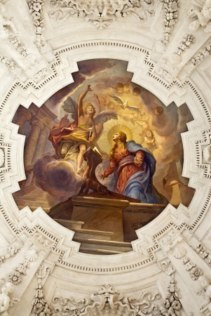 PALERMO - APRIL 8  Annunciation scene on ceiling of side nave in church La chiesa del Gesu or Casa Professa  Baroque church was completed in 1636 on April 8, 2013 in Palermo, Italy  Stock Photo - 19962481
