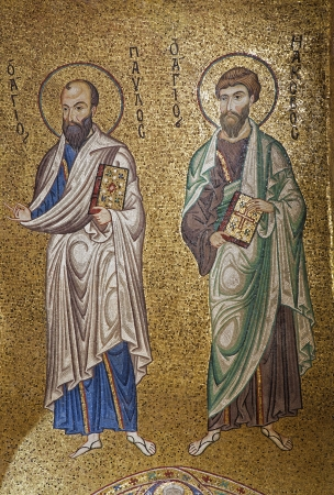 apostle paul: PALERMO - APRIL 8: Mosaic of apostle Paul and Jacob from in Church of Santa Maria dell Ammiraglio or La Martorana from 12. cent. on April 8, 2013 in Palermo, Italy.