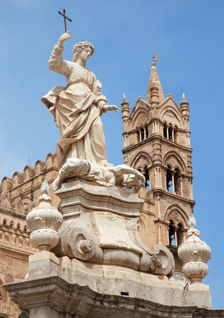 santa rosalia: Palermo -  Towers of Cathedral or Duomo and Santa Rosalia statue