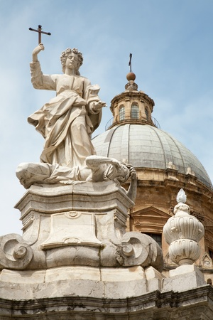 santa rosalia: Palermo - Cupola of Cathedral or Duomo and Santa Rosalia memorial - patron of the city