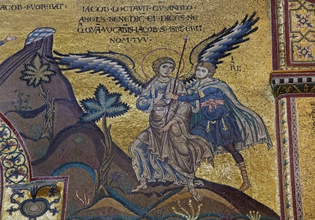 PALERMO - APRIL 9: Scene of Jacob Wrestles an Angel in Monreale cathedral. Church is wonderful example of Norman architecture. Cathedral was completed about 1200 on April 9, 2013 in Palermo, Italy. Stock Photo - 19885567