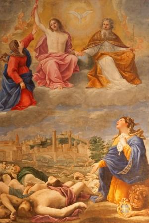 infective: VERONA - 28 de enero: Pintura de la plaga en Verona en el a�o 1630 por Antonio Giarola de la iglesia de San Fermo Maggiore, el 28 de enero de 2013 en Verona, Italia