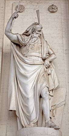 st jacques: Brussels - statue of Moses from facade of st. Jacques church Stock Photo