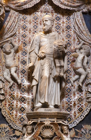 isaiah: PALERMO - APRIL 9: Baroque statue of prophet Isaiah  from chapel on the north side of Monreale cathedral on April 9, 2013 in Palermo, Italy. Editorial