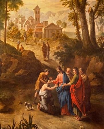 GENT - 23 giugno: Cristo guarisce i ciechi sulla strada per Gerico. Vernice da Pieter Norbert van Reysschoot (1738 - 1795) in v. Chiesa Peters il 23 giugno 2012 a Gent, in Belgio. Archivio Fotografico - 20844041
