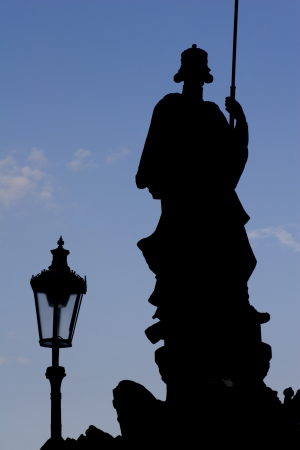 notability: silhouette of st  Wenceslas from Prague Stock Photo