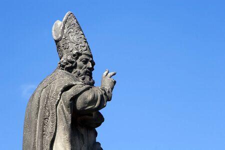 bishop statue from charles bridge - prague - st  Adalbert