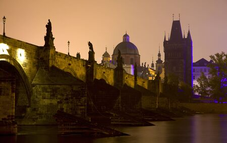 Prague - Charles bridge in morning photo